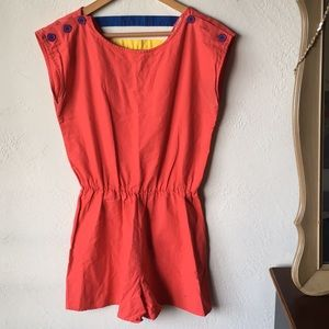 Other - Vintage red romper w/ buttons & colorful back